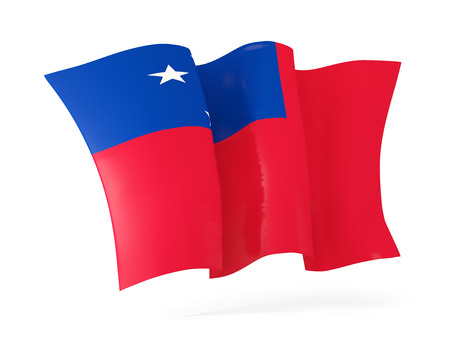 flutter: Waving flag of samoa isolated on white. 3D illustration Stock Photo