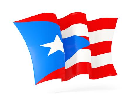bandera de puerto rico: Ondeando la bandera de Puerto Rico aislado en blanco. ilustración 3D Foto de archivo