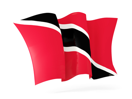 national flag trinidad and tobago: Waving flag of trinidad and tobago isolated on white. 3D illustration