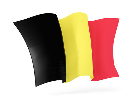 flutter: Waving flag of belgium isolated on white. 3D illustration Stock Photo