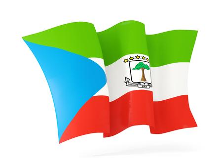equatorial guinea: Waving flag of equatorial guinea isolated on white. 3D illustration