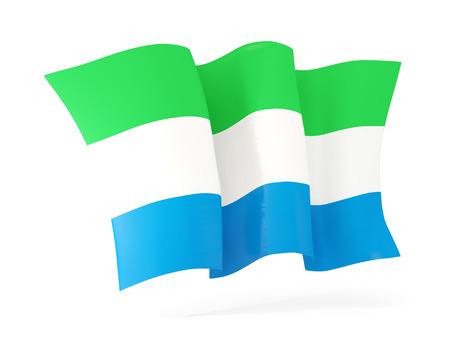 sierra: Waving flag of sierra leone isolated on white. 3D illustration