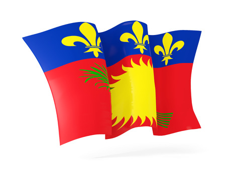 guadeloupe: Waving flag of guadeloupe isolated on white. 3D illustration