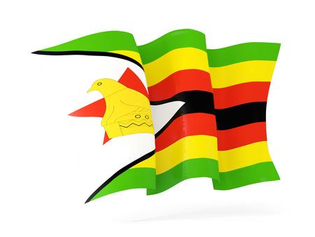 zimbabwe: Waving flag of zimbabwe isolated on white. 3D illustration Stock Photo