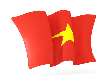 flutter: Waving flag of vietnam isolated on white. 3D illustration