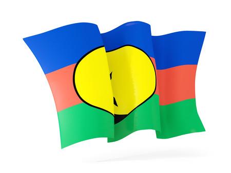new caledonia: Waving flag of new caledonia isolated on white. 3D illustration Stock Photo