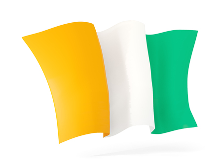 cote ivoire: Waving flag of cote d Ivoire isolated on white. 3D illustration