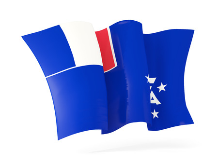 french flag: Waving flag of french southern territories isolated on white. 3D illustration