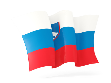 flutter: Waving flag of slovenia isolated on white. 3D illustration