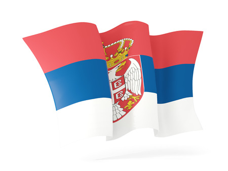 serbia: Waving flag of serbia isolated on white. 3D illustration