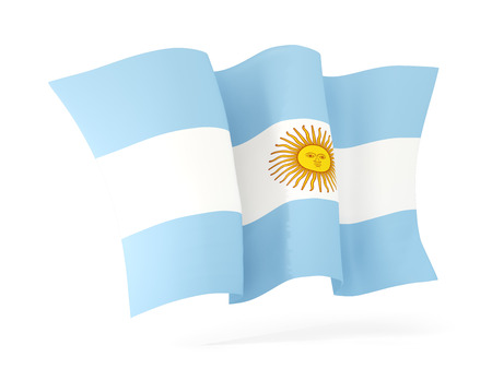 flutter: Waving flag of argentina isolated on white. 3D illustration
