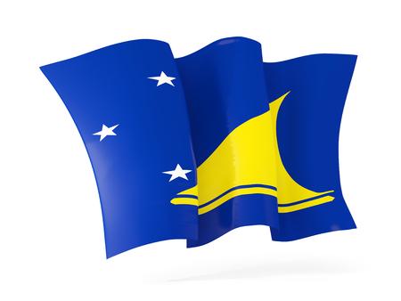 tokelau: Waving flag of tokelau isolated on white. 3D illustration Stock Photo