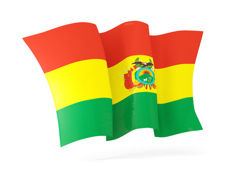 flutter: Waving flag of bolivia isolated on white. 3D illustration