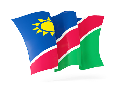 flutter: Waving flag of namibia isolated on white. 3D illustration