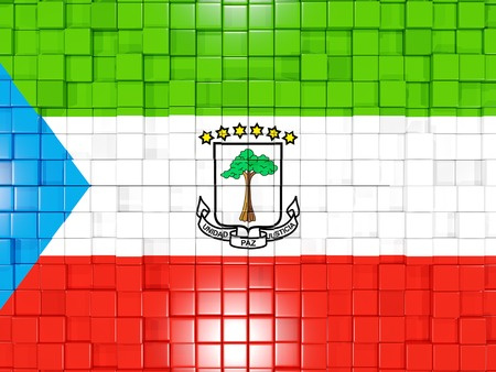 equatorial guinea: Mosaic background with square parts. Flag of equatorial guinea. 3D illustration Stock Photo
