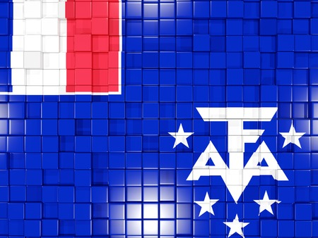 territories: Mosaic background with square parts. Flag of french southern territories. 3D illustration