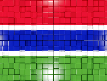 gambia: Mosaic background with square parts. Flag of gambia. 3D illustration Stock Photo