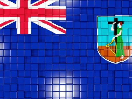 montserrat: Mosaic background with square parts. Flag of montserrat. 3D illustration