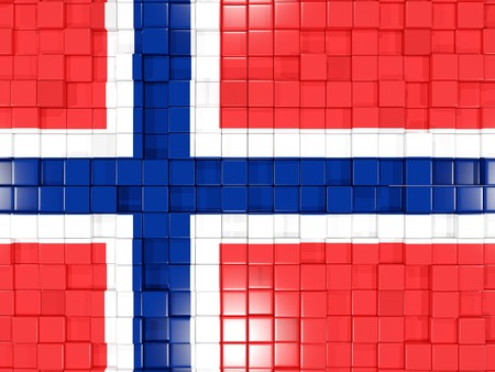 norway flag: Mosaic background with square parts. Flag of norway. 3D illustration Stock Photo