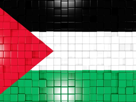 palestinian: Mosaic background with square parts. Flag of palestinian territory. 3D illustration