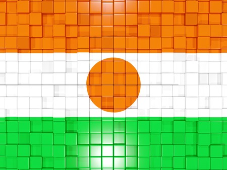 niger: Mosaic background with square parts. Flag of niger. 3D illustration Stock Photo