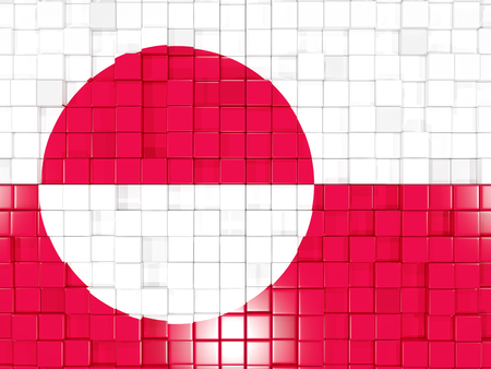 greenland: Mosaic background with square parts. Flag of greenland. 3D illustration Stock Photo