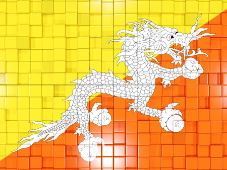 bhutan: Mosaic background with square parts. Flag of bhutan. 3D illustration