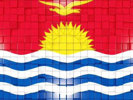kiribati: Mosaic background with square parts. Flag of kiribati. 3D illustration