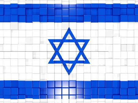 Mosaic background with square parts. Flag of israel. 3D illustration