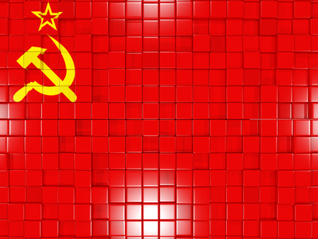 ussr: Mosaic background with square parts. Flag of ussr. 3D illustration