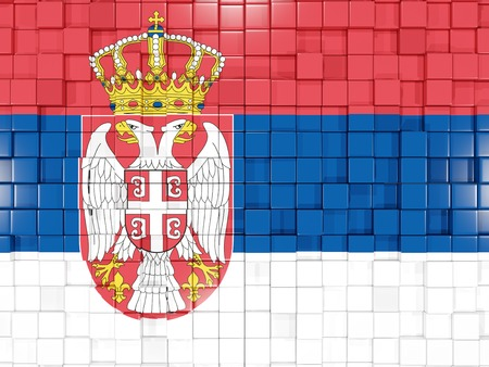 serbia: Mosaic background with square parts. Flag of serbia. 3D illustration Stock Photo