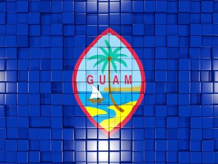guam: Mosaic background with square parts. Flag of guam. 3D illustration