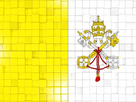 vatican city: Mosaic background with square parts. Flag of vatican city. 3D illustration