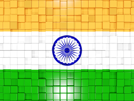 india 3d: Mosaic background with square parts. Flag of india. 3D illustration Stock Photo