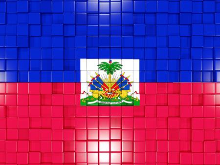 haiti: Mosaic background with square parts. Flag of haiti. 3D illustration Stock Photo