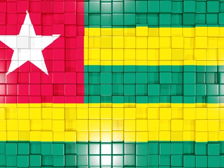 togo: Mosaic background with square parts. Flag of togo. 3D illustration