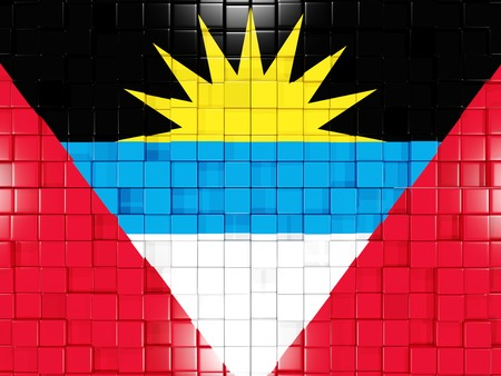 barbuda: Mosaic background with square parts. Flag of antigua and barbuda. 3D illustration
