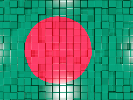 bangladesh 3d: Mosaic background with square parts. Flag of bangladesh. 3D illustration