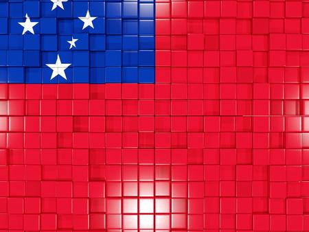 samoa: Mosaic background with square parts. Flag of samoa. 3D illustration