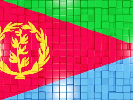 eritrea: Mosaic background with square parts. Flag of eritrea. 3D illustration Stock Photo