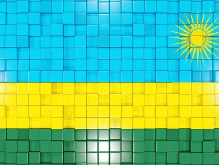 rwanda: Mosaic background with square parts. Flag of rwanda. 3D illustration Stock Photo