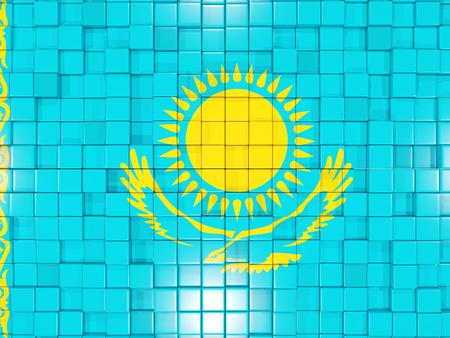 kazakhstan: Mosaic background with square parts. Flag of kazakhstan. 3D illustration