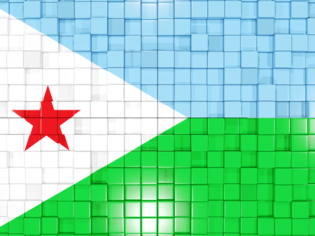 djibouti: Mosaic background with square parts. Flag of djibouti. 3D illustration