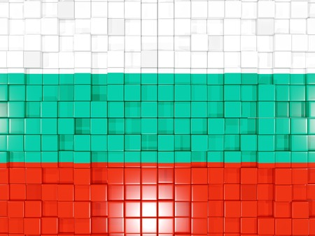 Mosaic background with square parts. Flag of bulgaria. 3D illustration Stock Photo