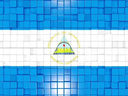 nicaragua: Mosaic background with square parts. Flag of nicaragua. 3D illustration Stock Photo