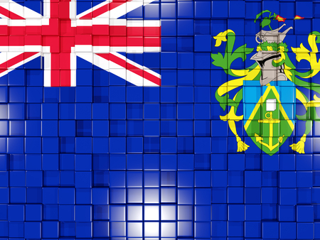 pitcairn: Mosaic background with square parts. Flag of pitcairn islands. 3D illustration