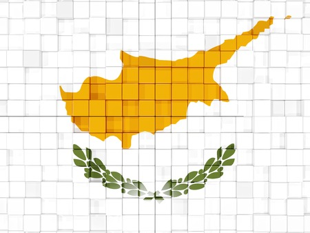 cyprus: Mosaic background with square parts. Flag of cyprus. 3D illustration