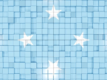 micronesia: Mosaic background with square parts. Flag of micronesia. 3D illustration