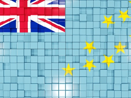 tuvalu: Mosaic background with square parts. Flag of tuvalu. 3D illustration Stock Photo