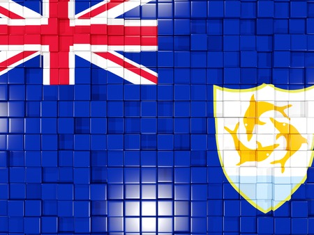 anguilla: Mosaic background with square parts. Flag of anguilla. 3D illustration